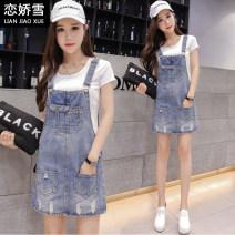 Dress Summer of 2018 XS,S,M,L,XL,2XL Short skirt singleton  commute High waist A-line skirt 18-24 years old Type A Korean version 71% (inclusive) - 80% (inclusive) Denim cotton