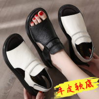 Sandals 35,36,37,38,39,40,41 top layer leather Other / other Barefoot Muffin bottom Middle heel (3-5cm) Summer 2020 polyurethane PU PU Flat buckle