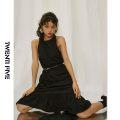 Dress Summer 2020 black S, M longuette Sleeveless Crew neck High waist A-line skirt Hanging neck style Type A More than 95% Poplin cotton