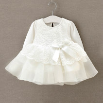 Dress White, pure white female Other / other 66cm,73cm,80cm Cotton 100% spring and autumn princess Long sleeves Solid color Pure cotton (100% cotton content) A-line skirt Class A 12 months