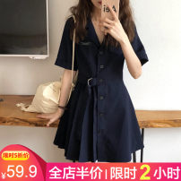Women's large Summer 2021 Navy grey S M L XL 2XL 3XL 4XL Dress singleton  Sweet easy moderate Socket Short sleeve Solid color Polo collar Medium length Three dimensional cutting routine 4-2CS0302 Beauty 18-24 years old Three dimensional decoration Middle-skirt Polyester 50% viscose (viscose) 50% bow