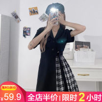 Women's large Summer 2021 Black [for slightly fat girls] S M L XL 2XL 3XL 4XL Dress singleton  Sweet easy Socket Short sleeve Polo collar Medium length Three dimensional cutting routine Beauty 18-24 years old Three dimensional decoration Medium length Pure e-commerce (online only) Ruffle Skirt bow