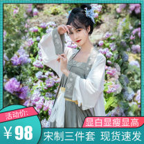 Hanfu 91% (inclusive) - 95% (inclusive) Summer 2020 Pink Blue 3-piece 4.5m skirt (in stock), grey green 3-piece 4.5m skirt (in stock) S,M,L,XL polyester fiber