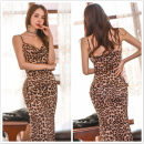 Dress Summer 2021 Leopard Print S,XL,L,M Mid length dress singleton  Sleeveless commute V-neck High waist Leopard Print zipper Pencil skirt camisole 18-24 years old Type X Splicing 51% (inclusive) - 70% (inclusive) other