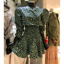 Dress Spring 2021 green S,M,L Mid length dress singleton  Long sleeves commute Crew neck High waist Broken flowers Socket other puff sleeve Others 25-29 years old Type X Smzy / Aestheticism Korean version fold F89691 91% (inclusive) - 95% (inclusive) other polyester fiber