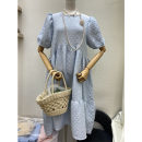 Dress Summer 2021 Light blue, black S,M,L Mid length dress singleton  Short sleeve commute Crew neck Loose waist Solid color Socket other puff sleeve Others 25-29 years old Type A Smzy / Aestheticism Korean version Button, stitching 91% (inclusive) - 95% (inclusive) other polyester fiber
