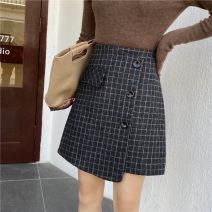 skirt Winter of 2019 M,L,XL,2XL,3XL,4XL Picture color Short skirt commute High waist A-line skirt lattice Type A 31% (inclusive) - 50% (inclusive) Wool Asymmetry, button Korean version