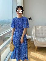 Dress Summer 2021 Ice and snow blue S, M Mid length dress singleton  Short sleeve commute Crew neck High waist Decor zipper A-line skirt pagoda sleeve Type A Korean version More than 95% Chiffon