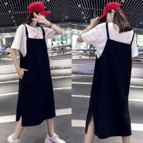Dress Summer of 2019 Black, apricot L,XL,2XL,3XL,4XL singleton  Sleeveless commute other Loose waist Solid color Socket Pleated skirt other straps 25-29 years old Type A Korean version Pocket, strap Dragon 9506 46 brocade cotton