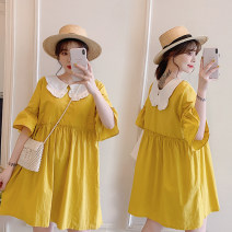 Women's large Summer of 2019 yellow Dress singleton  commute easy moderate Short sleeve Solid color, others Korean version Polyester, cotton, acetate Three dimensional cutting Resin fixation 81% (inclusive) - 90% (inclusive) Medium length