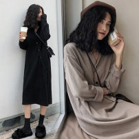 Women's large Spring of 2019, autumn of 2019 Black, Khaki M [80-100 Jin], l [100-120 Jin], XL [120-140 Jin], 2XL [140-160 Jin], 3XL [160-180 Jin], 4XL [180-200 Jin] Dress singleton  commute moderate Cardigan Long sleeves Solid color Korean version V-neck Medium length routine 25-29 years old