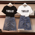 Women's large Summer of 2019 Black, white M [recommended 80-100 Jin], l [recommended 100-120 Jin], XL [120-140 Jin], 2XL [140-160 Jin recommended], 3XL [160-180 Jin recommended], 4XL [180-200 Jin recommended] Dress Two piece set commute easy thin Socket Short sleeve letter Korean version Crew neck
