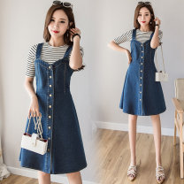 Women's large Summer of 2019, spring of 2019 Dress singleton  commute easy moderate Solid color Korean version Denim Three dimensional cutting 18-24 years old hole Medium length other
