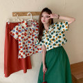 Women's large Summer 2021 Red shirt, red skirt, green shirt, green skirt L [100-120 Jin recommended], XL [120-140 Jin recommended], 2XL [140-160 Jin recommended], 3XL [160-180 Jin recommended], 4XL [180-200 Jin recommended] Two piece set commute easy thin Cardigan Short sleeve Broken flowers