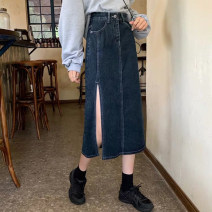 skirt Spring 2021 M [recommended 80-100 kg], l [recommended 100-120 kg], XL [recommended 120-140 kg], 2XL [recommended 140-160 kg], 3XL [recommended 160-180 kg], 4XL [recommended 180-200 kg], s [recommended 80-90 kg] navy blue Mid length dress commute High waist A-line skirt Solid color Type A