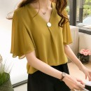 T-shirt Yellow, red M [recommended 80-100 kg], l [recommended 100-115 kg], XL [recommended 115-130 kg], 2XL [recommended 130-150 kg], 3XL [recommended 150-170 kg], 4XL [recommended 170-200 kg] Summer of 2019 Short sleeve V-neck easy Lotus leaf sleeve commute other 51% (inclusive) - 70% (inclusive)