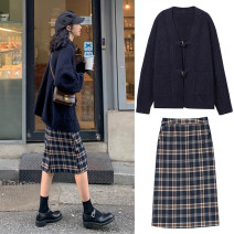 Women's large Autumn of 2019 Other oversize styles Two piece set commute easy thick Cardigan Long sleeves lattice Korean version High collar Medium length Cotton, acrylic routine 18-24 years old pocket Middle-skirt Single row two buttons