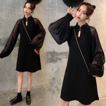 Women's large Spring 2020 black L【100-115】,XL【115-130】,2XL【130-150】,3XL【150-170】,4XL【175-200】 Dress singleton  commute Self cultivation moderate Socket Long sleeves Solid color Korean version stand collar Medium length Collage puff sleeve 18-24 years old 81% (inclusive) - 90% (inclusive)