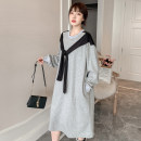 Women's large Autumn 2020 Black, gray L [100-120 Jin recommended], XL [120-140 Jin recommended], 2XL [140-160 Jin recommended], 3XL [160-180 Jin recommended], 4XL [180-200 Jin recommended] Dress singleton  commute easy moderate Socket Long sleeves Korean version Crew neck cotton 18-24 years old