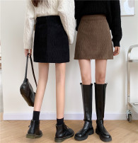 skirt Autumn 2020 L [100-120 Jin recommended], XL [120-140 Jin recommended], 2XL [140-160 Jin recommended], 3XL [160-180 Jin recommended], 4XL [180-200 Jin recommended] Black, brown Short skirt commute High waist A-line skirt Solid color Type A 25-29 years old Wool polyester fiber