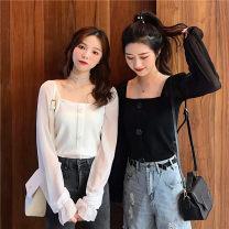 Women's large Spring 2020 Black, white XL【100-120】,2XL【125-150】,3XL【150-170】,4XL【175-200】 Knitwear / cardigan commute Socket Long sleeves Korean version square neck 18-24 years old
