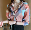 Women's large Autumn of 2019 Pink, blue M [85-100 Jin], l [100-120 Jin], XL [120-140 Jin], 2XL [140-160 Jin], 3XL [160-180 Jin], 4XL [180-200 Jin] shirt commute Straight cylinder moderate Cardigan Long sleeves other Retro V-neck routine other routine 25-29 years old 96% and above