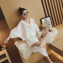 Women's large Summer of 2019, spring of 2019, autumn of 2019 White, gray Two piece set commute easy thin Cardigan Nine point sleeve Solid color Korean version Hood routine other Three dimensional cutting Bat sleeve 25-29 years old pocket 81% (inclusive) - 90% (inclusive) shorts tassels zipper