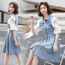 Dress Summer 2020 Picture color M L XL XXL Mid length dress Fake two pieces Short sleeve commute Polo collar middle-waisted Solid color Single breasted A-line skirt routine Others 25-29 years old Type A Yi Lanshan Korean version Ruffle pocket with lace up buttons YLS20A5305 More than 95% other other