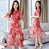 Dress Summer of 2019 Red flowers light blue flowers M L XL XXL Mid length dress singleton  Short sleeve commute stand collar High waist Decor Socket A-line skirt routine Others 25-29 years old Type A Yi Lanshan ethnic style printing YLS19B1608 More than 95% Chiffon other Other 100%