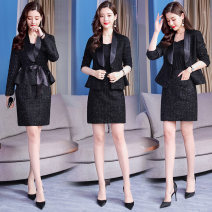 Dress Spring of 2019 Picture color S M L XL 2XL Mid length dress Two piece set Long sleeves commute V-neck middle-waisted Solid color A button A-line skirt routine Others 25-29 years old Type A Yi Lanshan Korean version Pocket lace up button zipper YLS19A10333 More than 95% other Other 100%