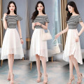 Dress Summer 2020 Black white blue M L XL XXL Mid length dress singleton  Short sleeve commute One word collar High waist stripe Socket A-line skirt pagoda sleeve Others 25-29 years old Type A Yi Lanshan Korean version Splicing YLS20A3655 More than 95% other other Other 100%