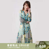 Dress Autumn 2020 the vivid green 155/80A/S,160/84A/M,165/88A/L,170/92A/XL Middle-skirt singleton  Long sleeves commute V-neck High waist Socket A-line skirt routine 25-29 years old Type A Naivie Ol style printing 203C63925-72