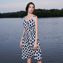 Dress Summer of 2019 Midnight blue Middle-skirt singleton  Sleeveless V-neck middle-waisted zipper routine 25-29 years old Type A Naivie printing other cotton
