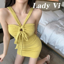 Dress Summer 2021 Yellow suspender skirt apricot suspender skirt apricot cardigan S M L Short skirt singleton  Sleeveless commute One word collar High waist Solid color Socket One pace skirt routine camisole 18-24 years old Type X Ounynyca / oneica Korean version Butterfly dew back lace up stitching