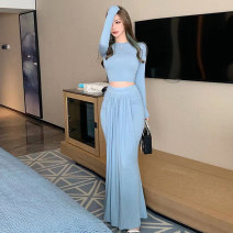 Dress Winter 2020 Black blue apricot grey brown S M L longuette Two piece set Long sleeves commute Crew neck High waist Solid color Socket Big swing routine Breast wrapping 25-29 years old Type X Ounynyca / oneica Korean version Fold splicing Oy551 More than 95% brocade polyester fiber Polyester 100%