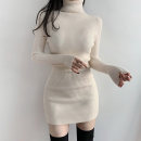 Dress Winter 2020 White black S M L Short skirt singleton  Long sleeves commute High collar High waist Solid color Socket One pace skirt routine Breast wrapping 25-29 years old Type X Ounynyca / oneica Korean version Splicing thread Austria s4875 More than 95% knitting polyester fiber Polyester 100%