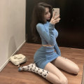Dress Winter 2020 Blue Pink S M L Short skirt Two piece set Long sleeves commute Crew neck High waist Solid color Socket One pace skirt routine Breast wrapping 25-29 years old Type X Ounynyca / oneica Korean version Splicing More than 95% knitting polyester fiber Polyester 100%