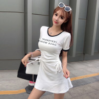 Dress Summer 2020 White black S M L XL Short skirt singleton  Short sleeve commute Crew neck High waist letter Socket A-line skirt routine Breast wrapping 18-24 years old Type A Ounynyca / oneica Korean version Pleated lace up print Olympic y273 More than 95% brocade polyester fiber Polyester 100%
