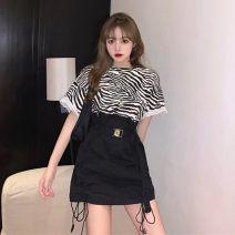 T-shirt Zebra T, black floral skirt Average size Summer 2020 Short sleeve Crew neck easy Regular cotton 31% (inclusive) - 50% (inclusive) 7063#