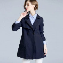 short coat Winter of 2018 S/155 M/160 L/165 XL/170 XXL/175 XXXL/180 Long sleeves Medium length routine singleton  easy commute routine Polo collar double-breasted Solid color 30-34 years old Fragrant clothes cabinet 71% (inclusive) - 80% (inclusive) polyester fiber cotton
