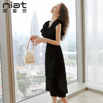 Dress Summer 2020 Black and white S M L XL Mid length dress singleton  Sleeveless commute V-neck High waist Solid color zipper A-line skirt other Others 25-29 years old NIAT lady Resin fixation of open back gauze mesh zipper with holes 6100B 91% (inclusive) - 95% (inclusive) polyester fiber