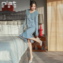 Dress Autumn of 2019 Picture color S M L XL Mid length dress singleton  Long sleeves commute V-neck High waist Solid color Socket A-line skirt routine Others 25-29 years old Type A NIAT lady Color fixing of lace stitching resin 31% (inclusive) - 50% (inclusive) nylon Pure e-commerce (online only)