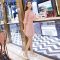 Dress Summer of 2019 White pink S M L Short skirt singleton  elbow sleeve commute One word collar High waist Solid color zipper A-line skirt pagoda sleeve Breast wrapping 25-29 years old NIAT Retro 2002B 31% (inclusive) - 50% (inclusive) nylon Pure e-commerce (online only)