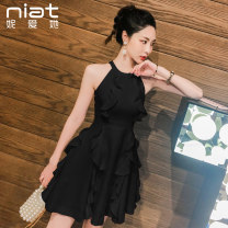 Dress Summer 2020 Black and white S M L XL Short skirt singleton  Sleeveless commute other Solid color A-line skirt other Hanging neck style 25-29 years old Type A NIAT lady Ruffled open back zipper 5372C More than 95% polyester fiber Polyester 100%