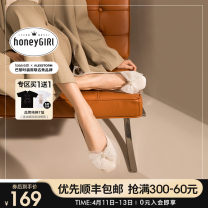 Low top shoes 34 35 36 37 38 39 honeyGIRL Off white [in stock] nude [in stock] bow fairy women's shoes comfortable flat shoes Square head Superfine fiber Flat bottom Flat heel (1cm or less) Shallow mouth PU Spring 2021 Trochanter Sweet Adhesive shoes Youth (18-40 years old) Solid color rubber PU