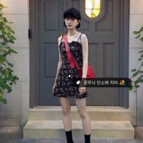 Dress Summer of 2019 Picture color S,M,L Short skirt singleton  Sleeveless commute High waist Decor camisole 18-24 years old Other / other Retro