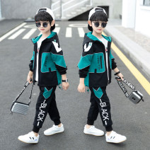suit Bridges bear 110cm 120cm 130cm 140cm 150cm 160cm 170cm male spring and autumn leisure time Long sleeve + pants 2 pieces routine There are models in the real shooting Zipper shirt No detachable cap Solid color cotton children Expression of love other Other 100% Spring 2021 Chinese Mainland