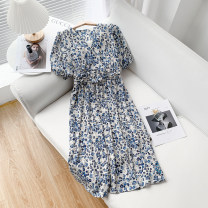 Dress Spring 2021 Blue skirt, blue skirt S, M Mid length dress Short sleeve V-neck middle-waisted Broken flowers Socket routine Others 25-29 years old 51% (inclusive) - 70% (inclusive)