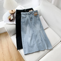 skirt Spring 2021 S,M,L,XL Black, denim Middle-skirt Versatile Natural waist Denim skirt Solid color 18-24 years old 51% (inclusive) - 70% (inclusive) other other