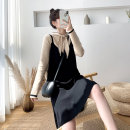 Dress Winter 2020 Black, blue, red M,L,XL,2XL Mid length dress singleton  Long sleeves commute stand collar High waist Solid color Socket A-line skirt routine Type A Korean version 71% (inclusive) - 80% (inclusive) knitting cotton